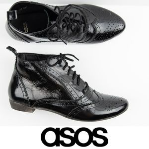 ASOS Black Patent Leather Oxford Ankle Boots 7